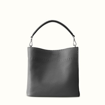 FENDI | ANNA SELLERIA small bucket bag in gray leather