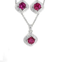 Beautiful Ruby Stud Earrings and Pendant .925 Sterling Silver White Gold Quality