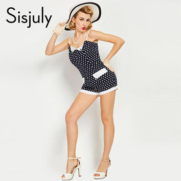 Sisjuly summer vintage jumpsuit short cute pin up suspenders dark blue polka dot women fashion 2017 sexy style jumpsuit shorts