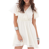 FOREVER 21 Flutter Sleeve Surplice Dress Cream