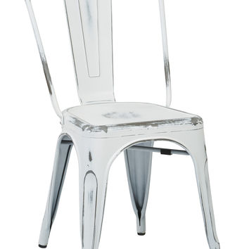 Tolix Bristow Armless Chair, Antique White, 2 Pack