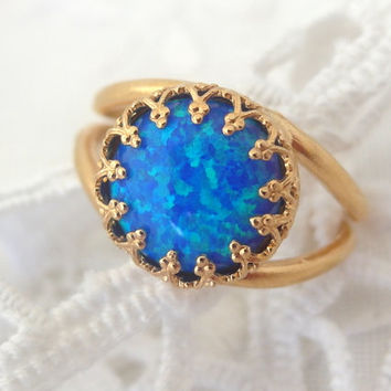 Blue opal ring, Gold ring, Gemstone ring, blue stone ring, October birthstone ring, Bridal ring, Delicate ring, Vintage style ring