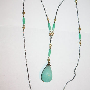 Art Deco Peking Glass Necklace, Lariat Jadite Opera Length Pendant, 1920s Deco Jewelry