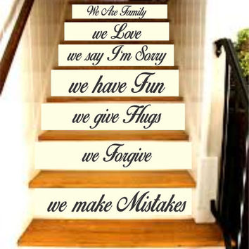Family Rules - In This House Quote Staircase Wall Vinyl Decal Sticker Decals