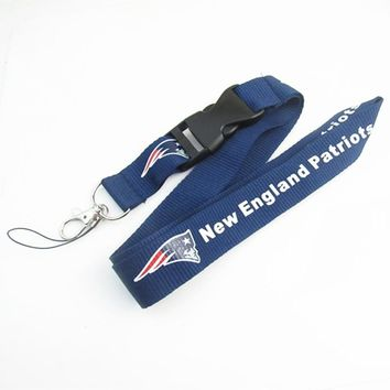New England Patriots Keychain Lanyard Neck Strap Key Ring For ID Pass Card Badge Gym Key Mobile Phone USB Holder Lanyard