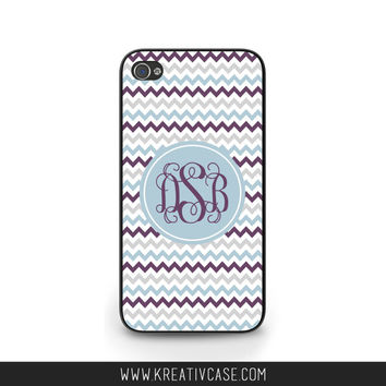 Personalized iPhone cases, iPhone 4, iPhone 5, iPhone 4S, Chevron iPhone Case, Monogram iPhone Cover, also Samsung and Blackberry - K298