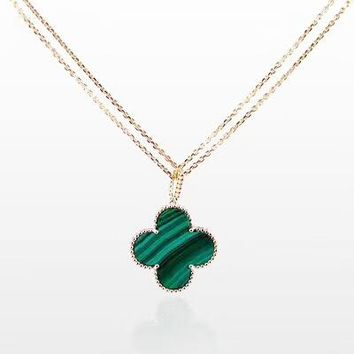 Van Cleef & Arpels Women Fashion New Four-Leaf Clover Pendant Necklace Green