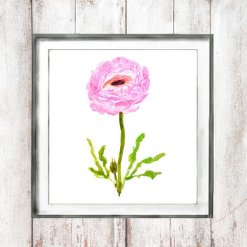 Customize instant digital download watercolo print watercolor painting one pink peony ranunculus flower watercolor art home decor wall art 1