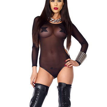 Fetish Sheer Long Sleeve Mesh Bodysuit With Side Cutouts