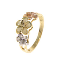 SOLID 14K TRICOLOR GOLD 6.5MM-8MM-6.5MM HAWAIIAN PLUMERIA FLOWER RING
