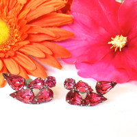 Stunning Pink Rhinestone Earrings Clip On 1940s Retro Fashion Jewelry