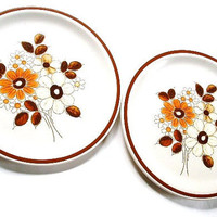 Vintage Stoneware Dinner Plate Set White Brown Daisies Woodhaven