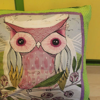 Owl Green Square Throw Pillow