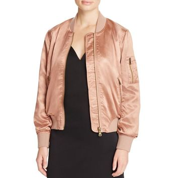 Cotton Candy Womens Satin Ribbed Knit Trim Jacket