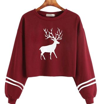Fashion Red Gray Black Women Casual Long Sleeve O Neck Deer Print Sweatshirt Tops Summer Spring women shirt Casual Party S!A75