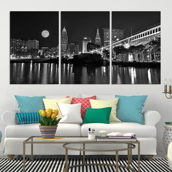 63099 - Black and White Night in Cleveland, Extra Large Cleveland Wall Art Canvas Print, Cleveland Ohio Wall Art, Cleveland City Skyline Canvas, Skyline Wall Art, Full Moon Wall Art