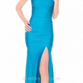 Ruched Mermaid Leg Slit Prom Gown by Atria