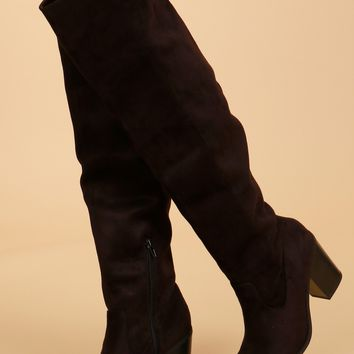 Tall Suede Boots Black