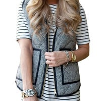 Vintage Women's Slim Fall Quilted Herringbone Puffer Vest with Zipper + Monochrome Stripe Dress
