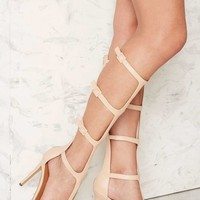 Nasty Gal Stiletto to Toe Gladiator Heels - Beige