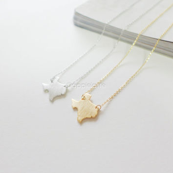 Texas necklace in gold or silver, state necklace, map necklace, I love Texas necklace
