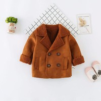 Infant suede jacket baby casual jacket jacket plus velvet warm children's clothing on behalf of a