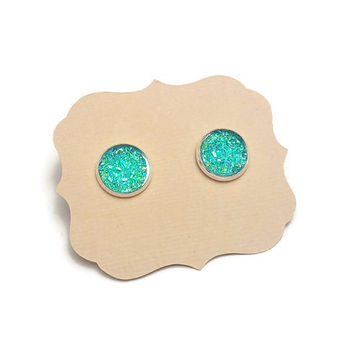 Faux Druzy Teal Earrings in Silver Setting • Druzy Earrings • Faux Geode Blue Earrings • Gem post earrings • Druzy Posts  • Glitter Earrings