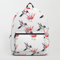 Little Hummingbird and Big Flower Backpack by sureart
