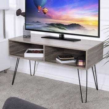 """Giantex Modern TV Stand Wood Media Console Table Entertainment With Metal Hairpin Legs TVs up to 42"""" Home Furniture HW56640"""