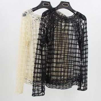 Women Long Sleeve Grid Lace Blouse Heavy Embroidery Sequin Bead Mesh Shirt Top Tunic Casual