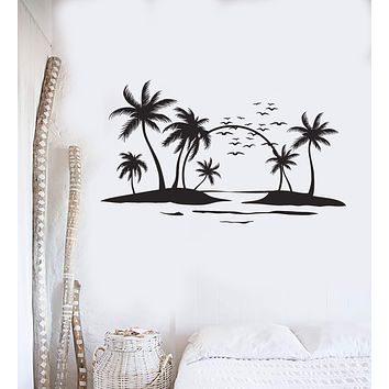 Vinyl Wall Decal Sun Palms Beach Style Ocean Islands Art Stickers Mural Unique Gift (ig5014)