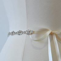 Ready To Ship - Rhinestone encrusted bridal belt, Crystal Belt, Bridal Sash