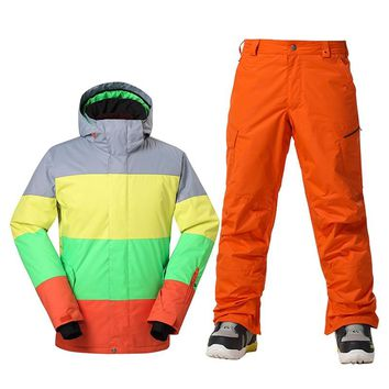 GSOU SNOW Brand Winter Ski Suit Men Ski Jacket Pants Waterproof Snowboard Sets Outdoor Skiing Snowboarding Snow Suit Sport Coat