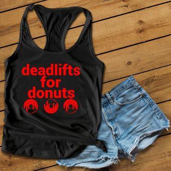 Deadlifts for donuts red Women's Ideal Racerback Tank