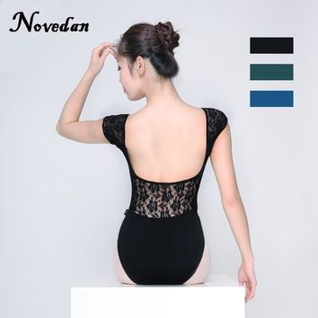 Adult Gymnastics Leotard Black Mesh Dance Leotards Short Cap Sleeve Lace Ballet Leotards For Women Dance Wear Justaucorps Adulte