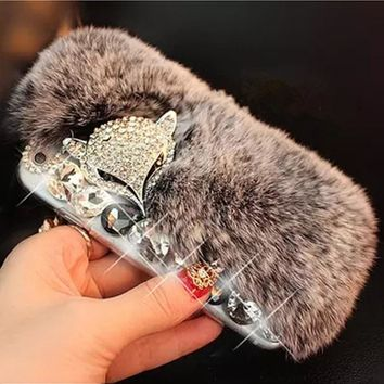 3D Luxury Bling Diamond Rabbit Fur Case Fox Head Phone Case Cover For Samsung A3 A5 A7 J5 J7 2017 J510 J710 2016