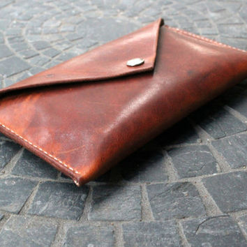 Women's Handcrafted Rustic Leather Clutch / iPhone Wallet / Handmade / Handstitched / Custom Thread / Made in America / Evening Clutch