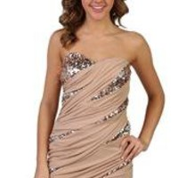 two tone strapless dress with spliced sequin inserts
