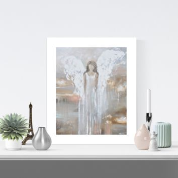 """""""Delicate Strength"""" LIMITED EDITION, MATTED & SIGNED by Artist Giclee Print Abstract Angel Painting 16x20"""""""
