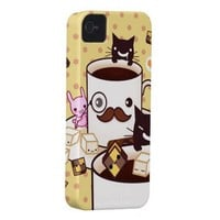 Cute mustache coffee cup with kawaii animals iphone 4 case-mate case from Zazzle.com