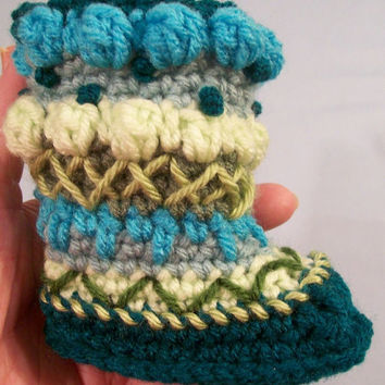 Baby Mukluks Granny Boots-Crochet-Turquoise--Baby Shower Gift--6/9M--#268