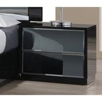 Chintaly Venice 2 Drawers Night Stand In High Black