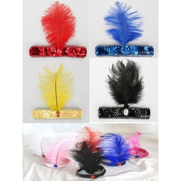 Fancy Dress Sequin Head Band Feather Flapper Headdress 1920's Dance Party