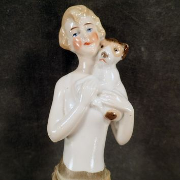 Vintage Porcelain Half Doll Clothes Brush - Flapper Girl with Puppy Dog
