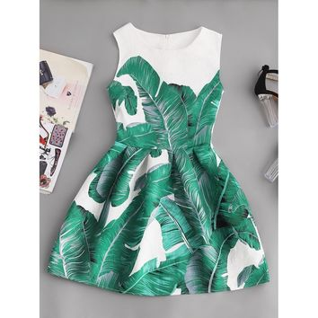 Palm Leaf Print Embossed Fit & Flare Dress