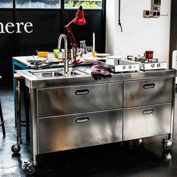 "CUCINA 160 ""OUT OF HERE"" Steel mini kitchen by ALPES-INOX"