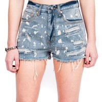 Bleach Spots Denim Shorts