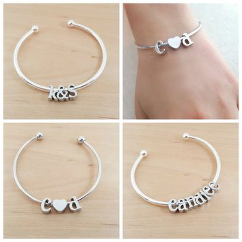 Personalized Silver Initial Bangle Bracelet