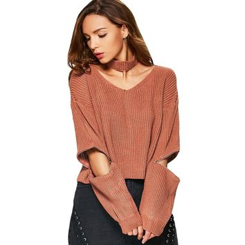 V Neck Chunky Sweater with Choker
