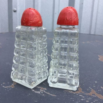 "Vintage ""Crystaled Glass"" Salt N Pepper Shakers"